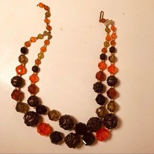 Vintage Boho Lucite Beads Earthy Chunky Necklace